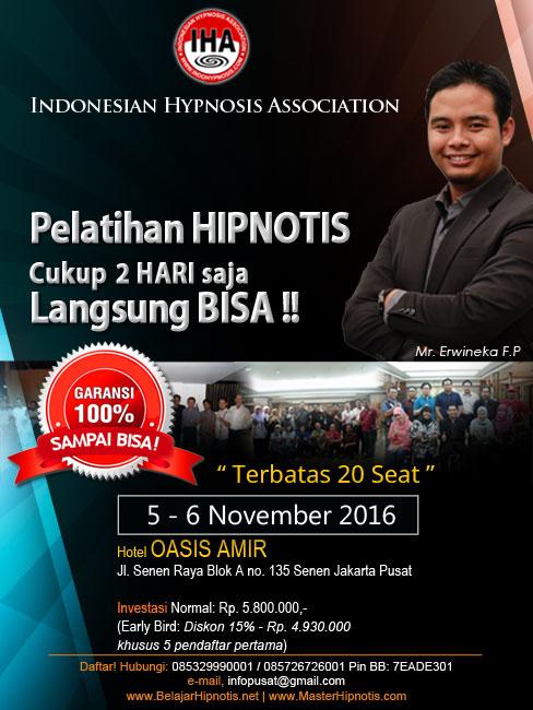 pelatihan hipnoterapi di jakarta bulan november 2016